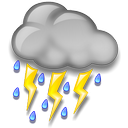 It is forcast to be Chance of a Thunderstorm at 10:00 PM CDT on May 26, 2013